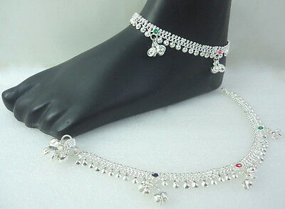 HANDMADE BOLLYWOOD SILVER TONE BELLS ANKLET PAYAL INDIAN TRADITIONAL JEWELRY 1