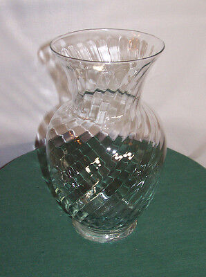 "NEW, CLEAR OPTIC SWIRL CRYSTAL PATTERN FLOWER VASE 11"" TALL -ABIGAIL'S CRYSTAL"