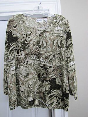 Chico's Travelers Top Shirt V-Neck Tropical Print Pattern 2 L Large chicos t21