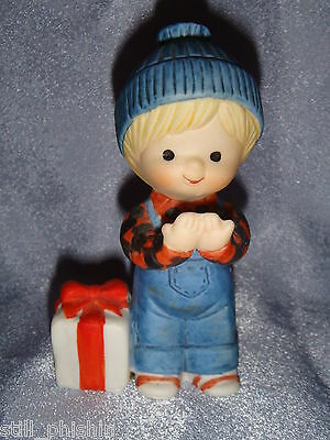 Country Cousins - Blonde Boy in Blue Coveralls & Cap w Christmas Present - 1983