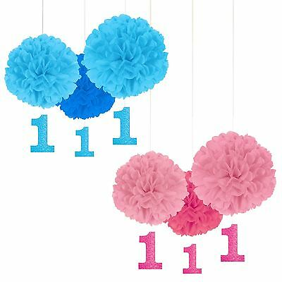 3 First 1st Baby Birthday Paper Dangler Decorations Blue Pink Girls Boys Party