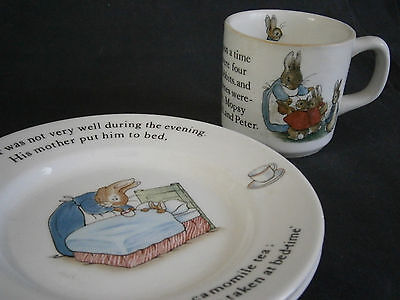 3 PCS - WEDGWOOD PETER RABBIT CHILD'S DISHES - CUP AND TWO PLATES