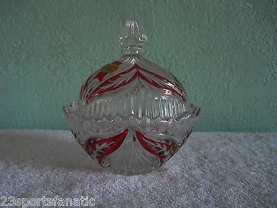 ANNA HUTTE BLEIKRISTALL 24% LEAD CRYSTAL CLEAR RUBY CANDY DISH GERMANY