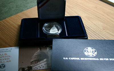 1994 US Capitol Bicentennial Silver Dollar PROOF US Mint Coin with Box & COA