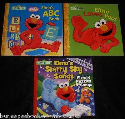 Lot 3 ELMO Sesame Street PICTURE Story BOOKS New KIDS Look & Find RHYMES Songs