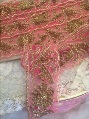 Two Beautiful Lengths Of Gold & Pink Antique French Embellishment