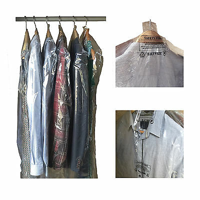 POLYTHENE GARMENT COVERS - Clear Plastic Suit, Shirt, Clothes Dry Cleaner Bags