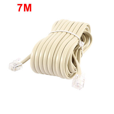 23ft  RJ11 to RJ11 6P4C Male Telephone Flat Cable Beige