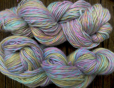 Pure wool yarn worsted weight, soft light colors ~ pink, blue and lime