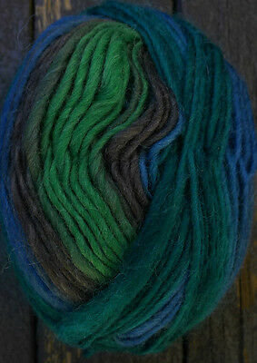 Pure wool yarn worsted weight,  blue, green and brown