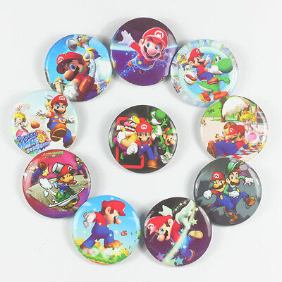 Lot 10pcs Super Mario Brother Luigi Badge Button for Kids Birthday Favor Gift #2