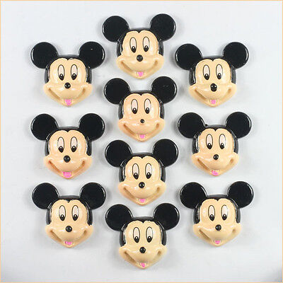 10 pcs Resin Mickey Mouse Flatback Scrapbooking Hair Bow Center Crafts Making A2