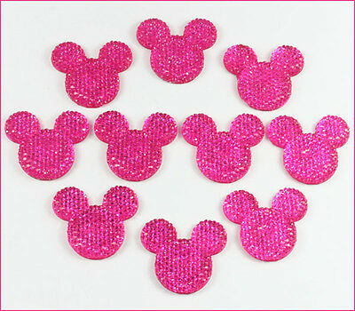 10 pcs Resin Minnie Mouse Hot Pink Flatback Scrapbooking Hair Bow Crafts DIY A2