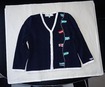 VINTAGE ST. JOHN SPORT BY MARIE GRAY WMS PETITE NAUTICAL FLAGS CARDIGAN SWEATER