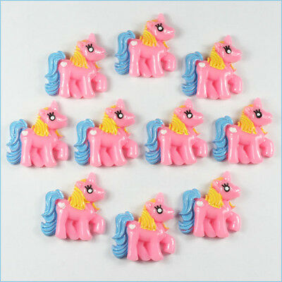 Lot 10 pcs Pink My Little Pony Horse Resin Flatbacks Scrapbooking Bow Crafts A2