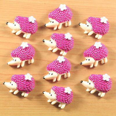 Lot 10pcs Pink Hedgehog with Flowers Animal Resin Flatback Hair Bow Craft DIY #2