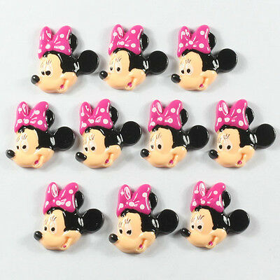 10pcs Minnie Mouse Hot Pink Bow Smiling Resin Flatbacks Girl Hair Bow Crafts #2
