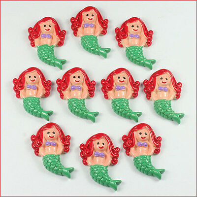 10pcs Ariel Inspired The Little Mermaid Resin Flatback Hair Bow Center Crafts A2