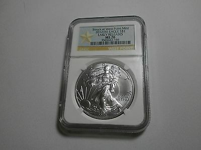 2012 (W) $1 SILVER EAGLE EARLY RELEASES NGC MS 70, STRUCK AT WEST POINT MINT