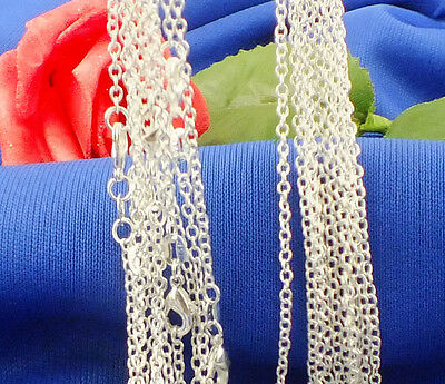 "Hot&new! 5pcs 925 sterling silver 2mm ""O"" Chain attractive Necklace 16 inch"