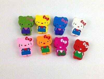 60PCS Mixed colours wooden Kitty Beads #20766