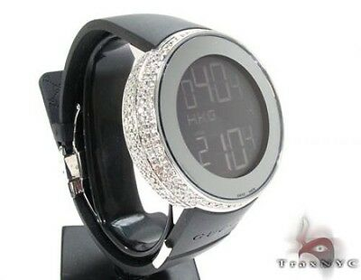 97c26c63eea Mens Diamond Fully Iced Digital Gucci Watch Round Cut G-H Color 6.00ct