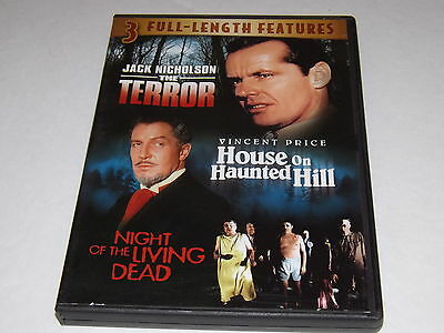 3 Full Length Movies DVD,The Terror, House On Haunted Hill, Night Of The Living