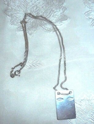 Vintage Sterling Silver Unusual Swedish Necklace With Chain  Marked EVIR  830 S