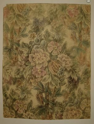 Beautiful Antique 19th C. French Watercolor & Pencil Floral Painting (9223)