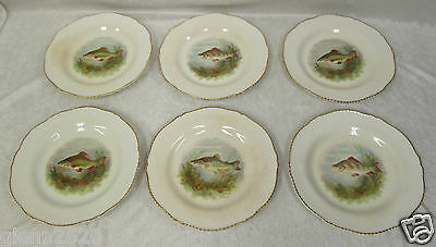 Antique Set 12 Fish Plates porcelain Woods Ivory Ware England 9in Di  gold c1930