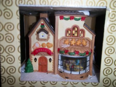 Electric light-up Porcelain Bakery Scene inside Bakery Window NIB