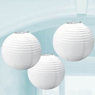"10pc White Round Paper 8""  Lantern Lamp Shade Party Home Wedding Decor"
