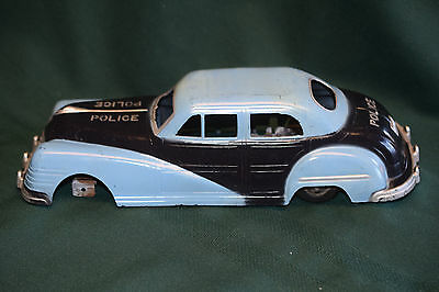 "Rare Vintage 1940s Irwin Plastic 12"" Wind Up Toy Police Car Body Parts or Repair"