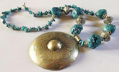 DETAILED SILVER TONE BEAD TURQUOISE BEAD SILVER TONE FLOWER PENDANT NECKLACE
