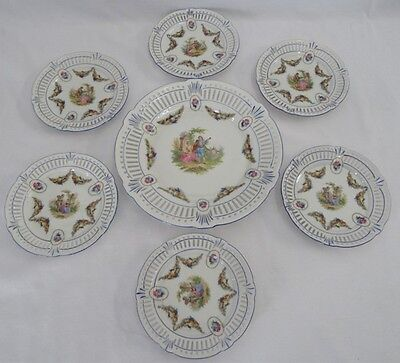 1905-10 SCHWARZENHAMMER BAVARIA COURTING COUPLE & FRUIT RETICULATED PLATES 7PC