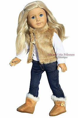 """Tan Fur VEST+Jeg Leggings+TOP+Tan BOOTS clothes fits 18"""" American Girl Doll Only"""