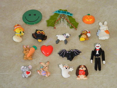 LOT OF VINTAGE HALLMARK RUSS ETC PINS EASTER HALLOWEEN X-MAS OWL MICE BAT ETC