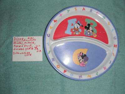 """Disney ABC Micky,Minnie, Donald Duck Divied Plate, 7 1/2""""  Dia,"""