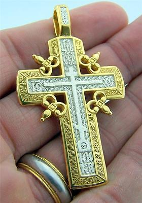 """Solid Pure Sterling Silver 14kt Gild Border Russian Orthodox 2"""" Cross Crucifix N"""