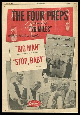 1958 The Four Preps photo Big Man record release vintage music trade ad