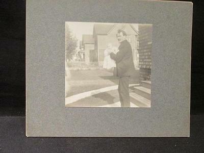 Man Holding Baby Antique B&W Matted Cabinet Photo