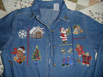 Bobbie Brooks Blue Jean Shirt Santa Teddy Bear Bells Skate Christmas M 8 10 SALE