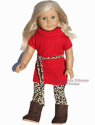 Red Knit Sweater DRESS+Leopard LEGGING+Belt clothes fits American Girl Doll only