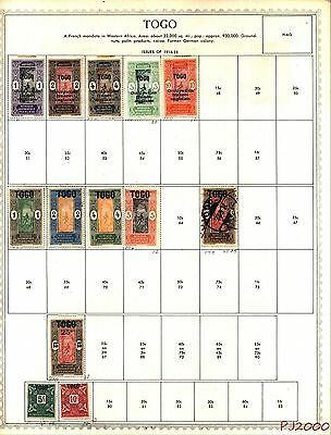 TOGO 1916-1959 Lot of 71 Stamps Collection on Minkus Album Pages No Reserve