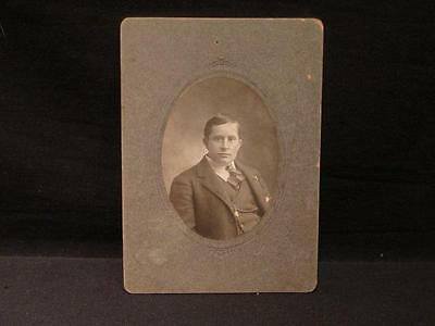 Young Man with tie & pocket watch Antique B&W Matted Cabinet Photo