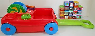 FISHER PRICE PEEK A BOO BLOCKS 19 pc LOT MUSICAL ACTIVITY WAGON SQUARE TOYS