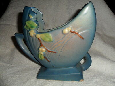 Roseville Art Pottery SNOWBERRY Blue  PILLOW VASE IFH-6 (chip on base) AS- IS