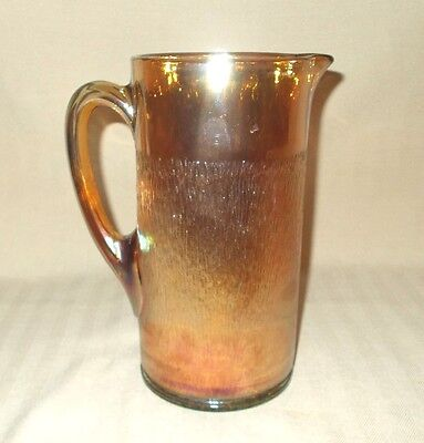 Vintage Imperial Glass 9: peach color Marigold Carnival Tree Bark Pitcher