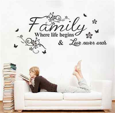 Family Where Life Begins Wall Sticker Quote Words Decal Vinyl Mural Home Decor