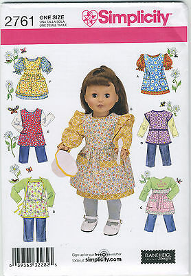 """Simplicity  Doll Clothes Pattern #2761 for 18"""" Girl Doll"""